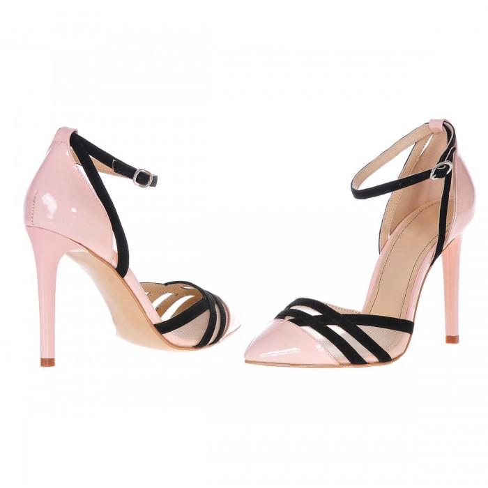 Pantofi Stiletto Eleganti Piele Naturala Nude - Negru - S223