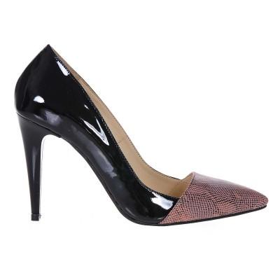 Pantofi Stiletto Piele Naturala Lacuita Neagra Imprimeu Sarpe - S220