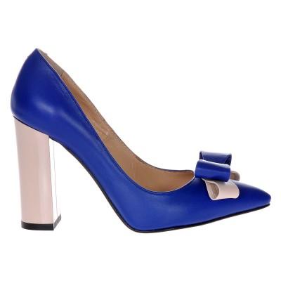 Pantofi Stiletto Cu Toc Gros Piele Naturala Albastru Electric- Cod S312