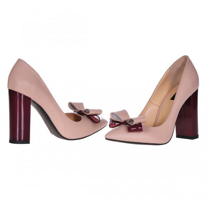 Pantofi Stiletto Cu Toc Gros Piele Naturala Bej- Cod S238