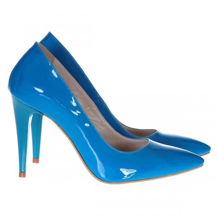 Pantofi Stiletto Piele Naturala Lacuita Albastru Turquoise - Cod S227