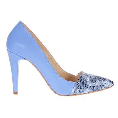 Pantofi Stiletto Piele Naturala Imprimeu Bleu - Cod S203