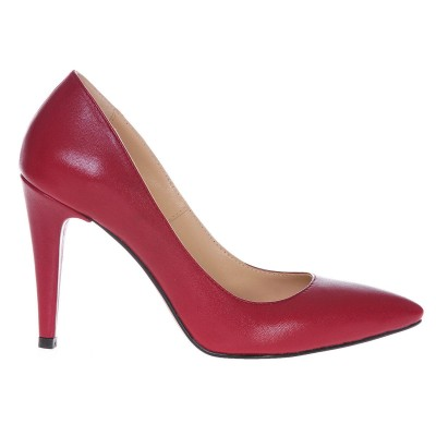Pantofi Stiletto Piele Naturala Bordo Marsala - Cod S215