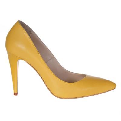 Pantofi Stiletto din Piele Naturala Galbena - Cod S229