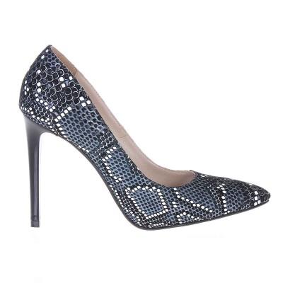 Pantofi Stiletto Piele Naturala Imprimeu Sarpe Negru - Alb Cod S213