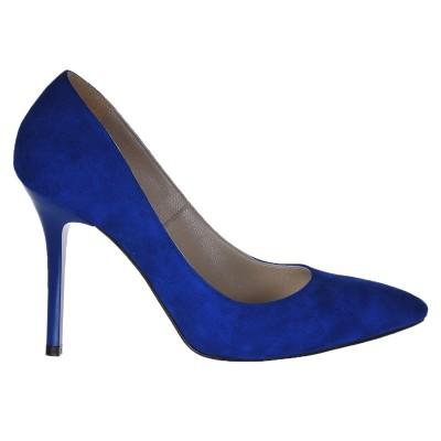 Pantofi Stiletto Piele Naturala Intoarsa Albastru Electric - Cod S230