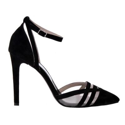 Pantofi Stiletto Eleganti Piele Naturala Intoarsa Neagra - Cod S175