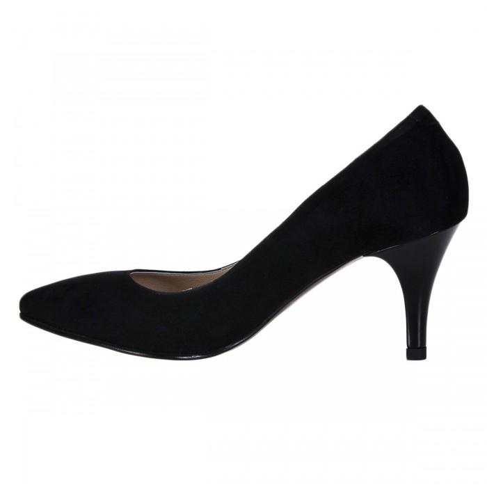 Pantofi Stiletto Piele Naturala Intoarsa Neagra - Cod S226