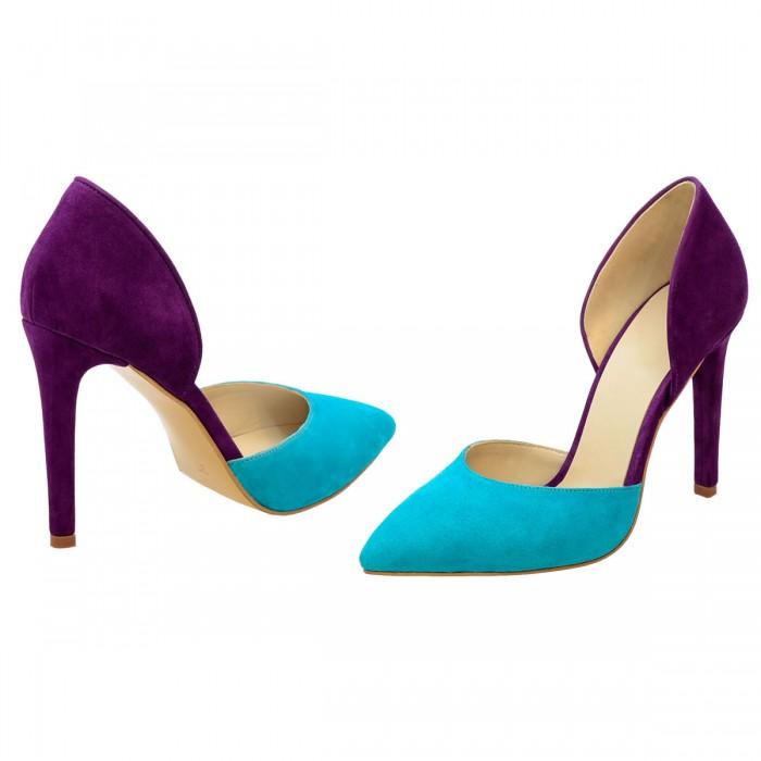 Pantofi Stiletto Decupati Piele Naturala Turquoise - Mov - Cod S162