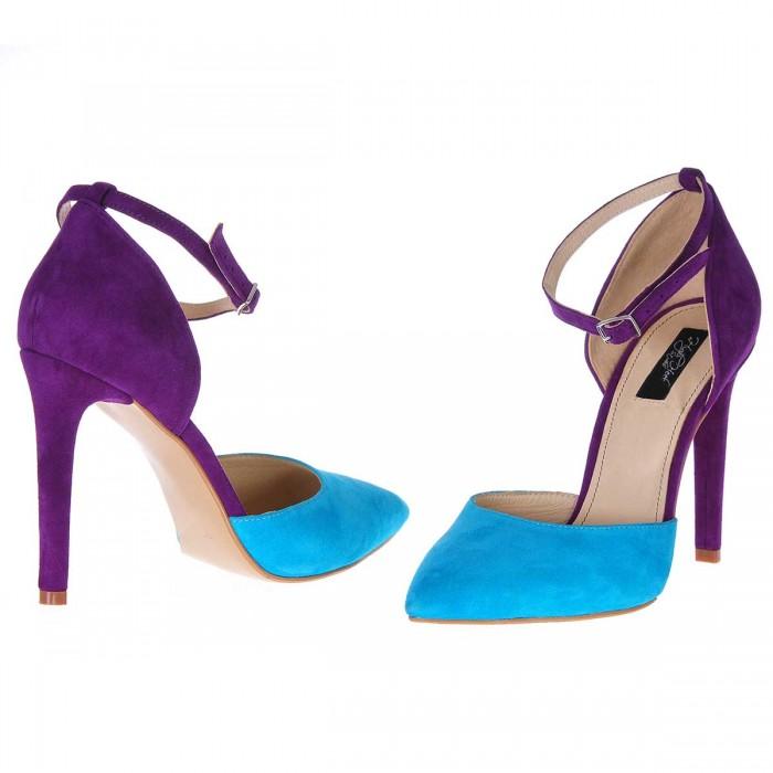 Pantofi Stiletto Decupati Cu Bareta Piele Naturala Turquoise - Mov - Cod S221