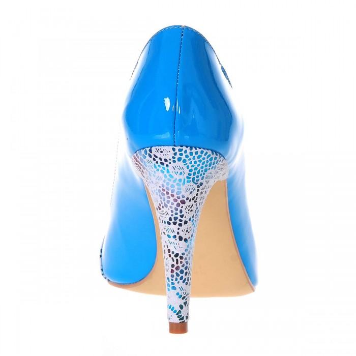 Pantofi Stiletto Piele Naturala Lacuita Turquoise Imprimeu - Cod S219