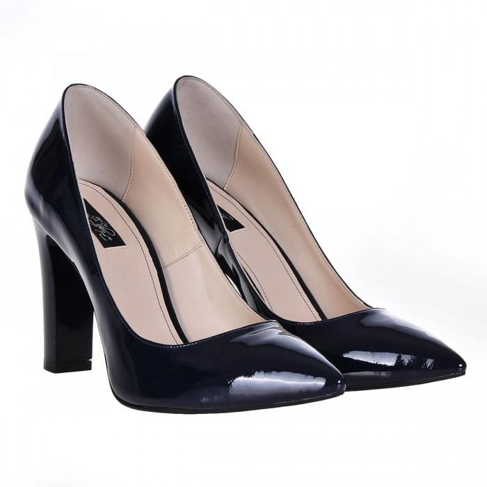 Pantofi Stiletto Piele Naturala Lacuita Bleumarin- Cod S234