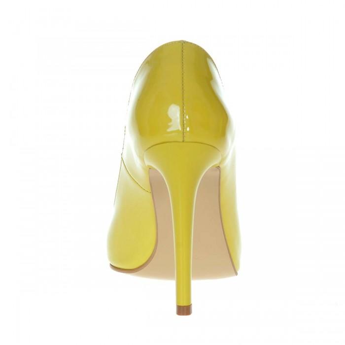 Pantofi Stiletto Piele Naturala Lacuita Galbena - Cod S207