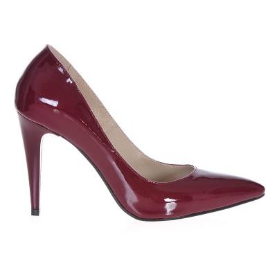 Pantofi Stiletto Piele Naturala Lacuita Marsala - Cod S204