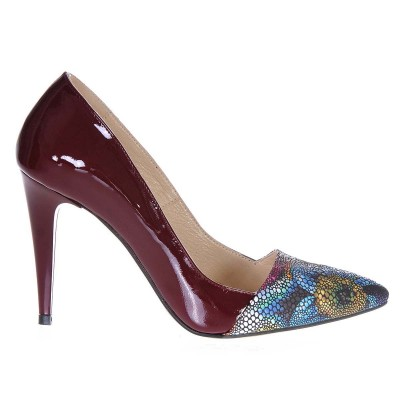 Pantofi Stiletto Piele Lacuita Marsala Imprimeu Floral - Cod S217