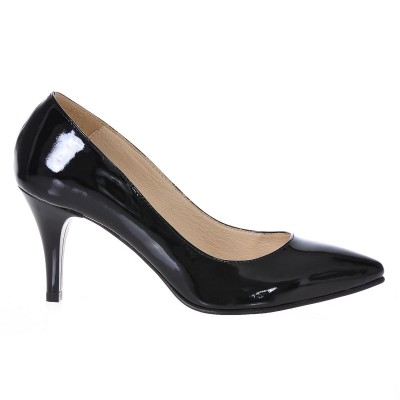 Pantofi Stiletto Piele Naturala Lacuita Neagra - Cod S193