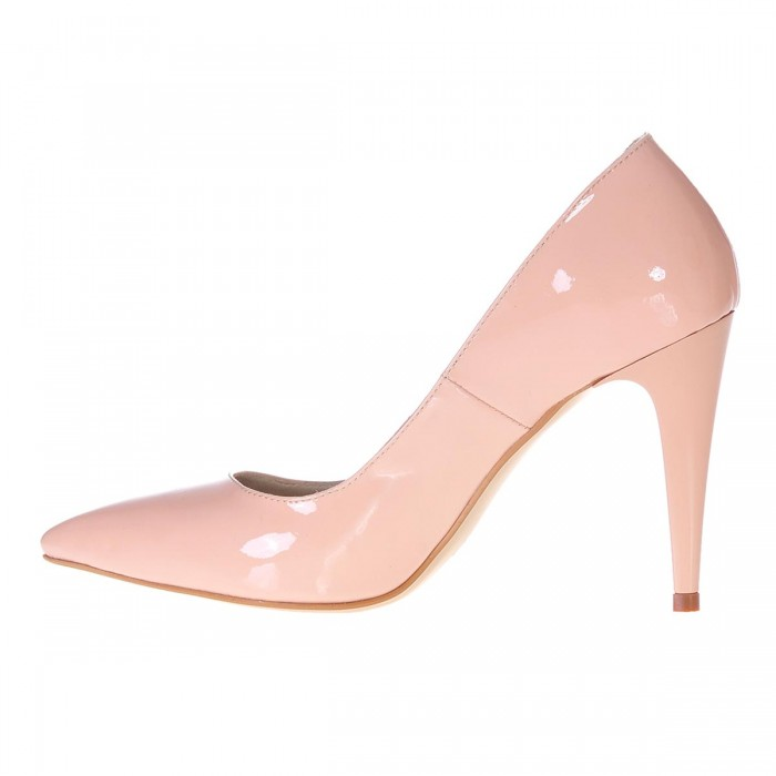 Pantofi Dama Stiletto Piele Naturala Lacuita Nude - Cod S188
