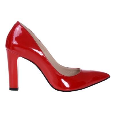 Pantofi Stiletto Piele Naturala Lacuita Rosie - Cod S300