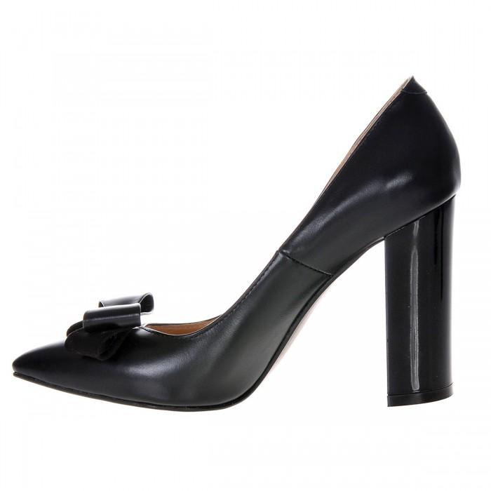 Pantofi Stiletto Cu Toc Gros Piele Naturala Neagra- Cod S308