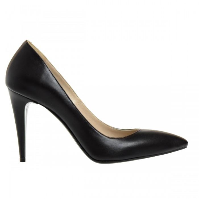 Pantofi Stiletto din Piele Naturala Neagra - Cod S301