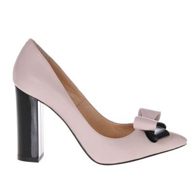Pantofi Stiletto Cu Toc Gros Piele Naturala Nude- Cod S309