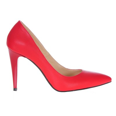 Pantofi Dama Stiletto Piele Naturala Rosie - Cod S206
