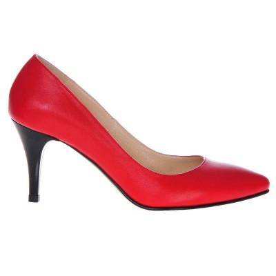 Pantofi Stiletto Piele Naturala Rosie - Cod S195