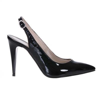 Pantofi Stiletto Tip Sanda Piele Naturala Lacuita Neagra - S222