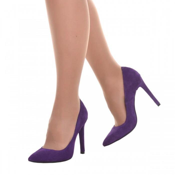 Pantofi Stiletto din Piele Naturala Intoarsa Mov - Cod S635