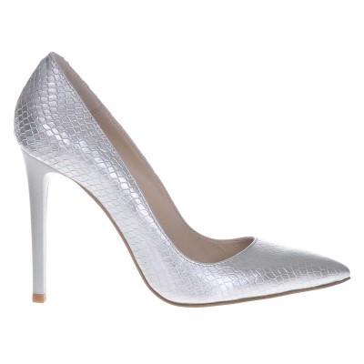 Pantofi Stiletto din Piele Naturala cu Imprimeu Sarpe Argintiu- Cod S400