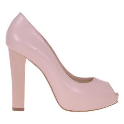 Pantofi cu platforma Piele Naturala Nude-Roze- Cod S450