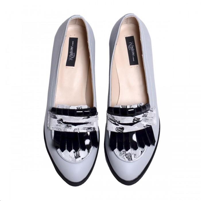 Pantofi Dama Loafers din Piele Naturala Gri - Cod S542