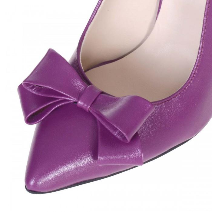 Pantofi Stiletto Decupati din piele Naturala Mov si Imprimeu - Cod S564