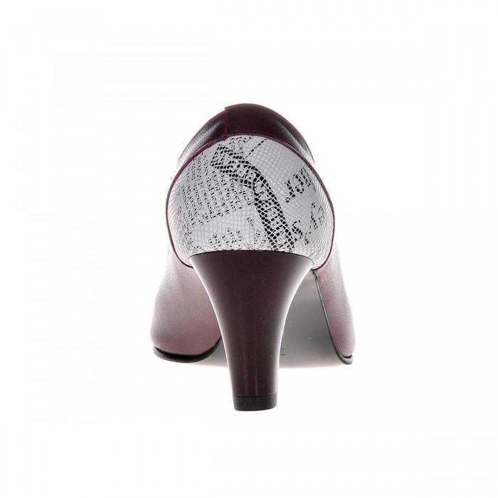 Pantofi Office Piele Naturala Bordo - Imprimeu Ziar - Cod S391