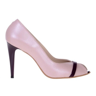 Pantofi Decupati de Dama din Piele Naturala Roz Pal si Mov - Cod S510
