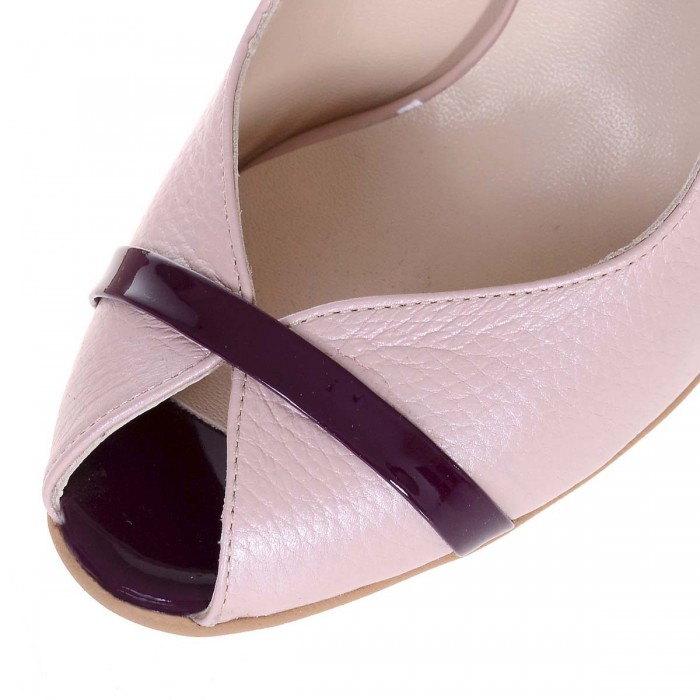 prețuri grozave pantofi clasici arata bine vanzare pantofi Pantofi Decupati de Dama din Piele Naturala Roz Pal si Mov - Cod S510