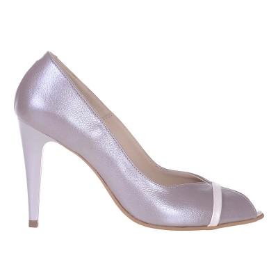 Pantofi Decupati de Dama din Piele Naturala Taupe - Cod S514