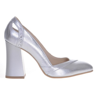 Pantofi dama cu toc gros din Piele Naturala Argintie- Cod S476