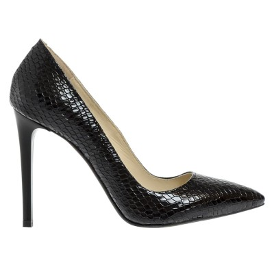 Pantofi Stiletto din Piele Naturala Imprimeu Sarpe Negru- Cod S325