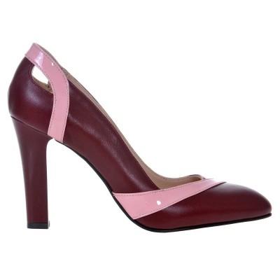 Pantofi dama din Piele Naturala Grena- Cod S451