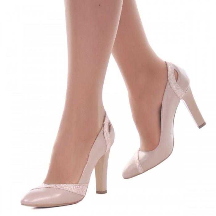 Pantofi dama din Piele Naturala Bej Sidefat- Cod S437