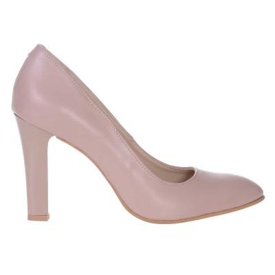 Pantofi dama din Piele Naturala Nude Inchis - Cod S543