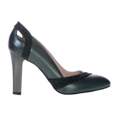 Pantofi dama din Piele Naturala Verde si Imprimeu - Cod S529