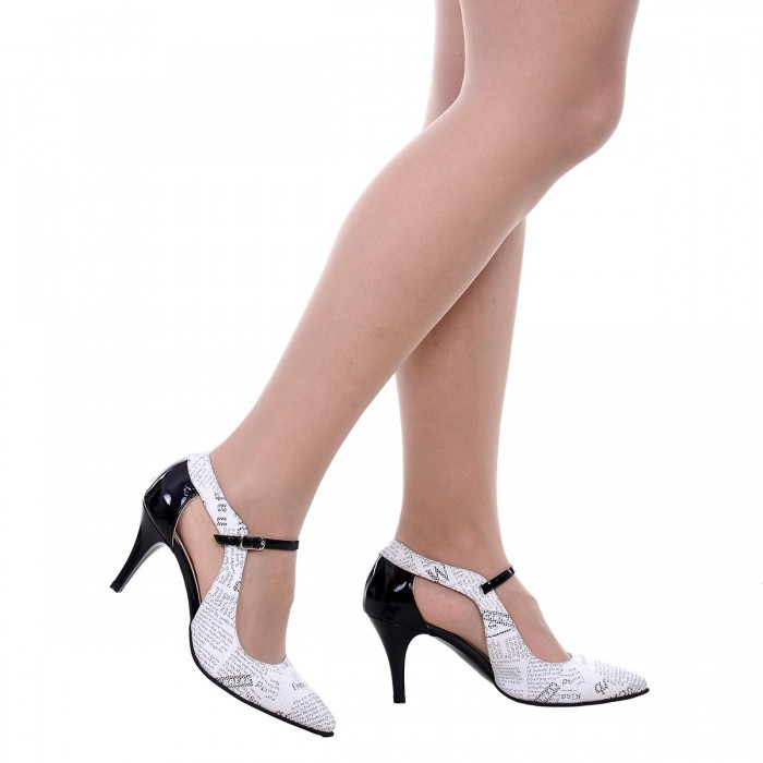 Pantofi Stiletto Piele Naturala cu Imprimeu Ziar - Cod S557