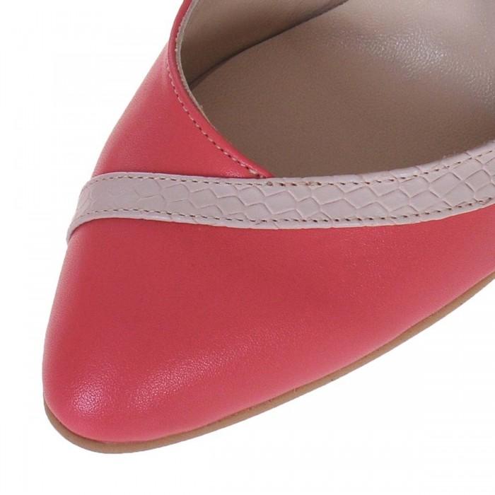 Pantofi dama din Piele Naturala Corai si Nude - Cod S497