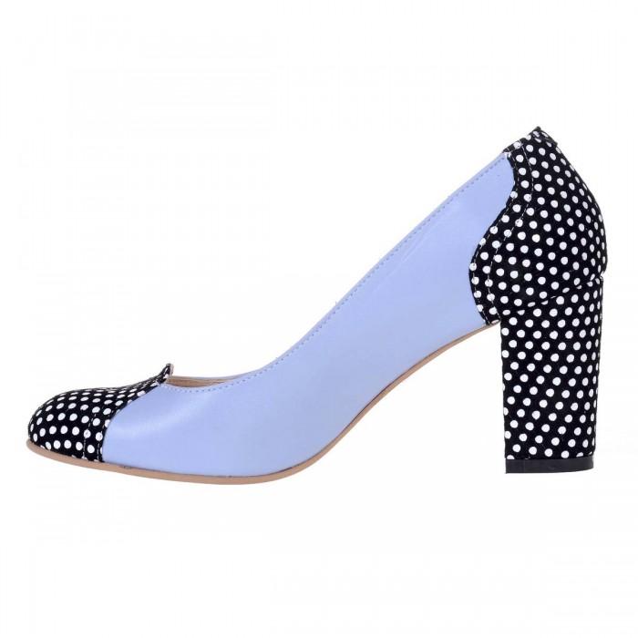 Pantofi Office din Piele Naturala Bleu si Imprimeu - Cod S534