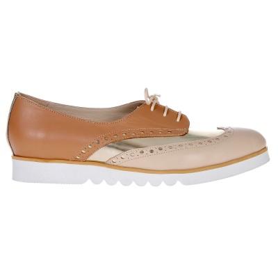 Pantofi Oxford Piele Naturala Cappuccino - Auriu - Nude - Cod S387