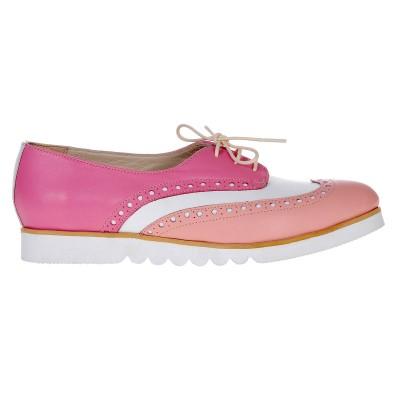 Pantofi Oxford Piele Naturala Roz - Alb - Cod S388