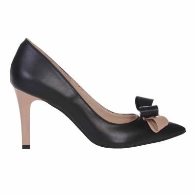 Pantofi Stiletto Piele Naturala Neagra si Crem - Cod S588