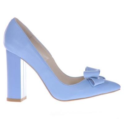 Pantofi Stiletto Cu Toc Gros Piele Naturala Bleu Serenity- Cod S401